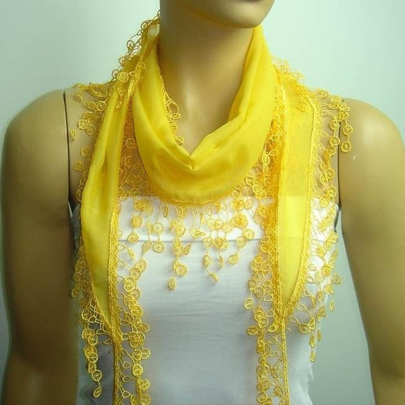 Marigold Yellow fringed edge scarf - Scarf with Lace Fringe