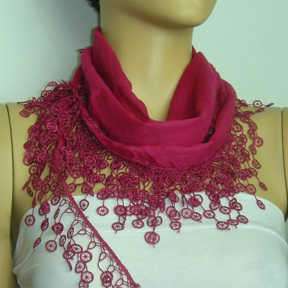 Sour Cherry fringed edge scarf - Scarf with Lace Fringe