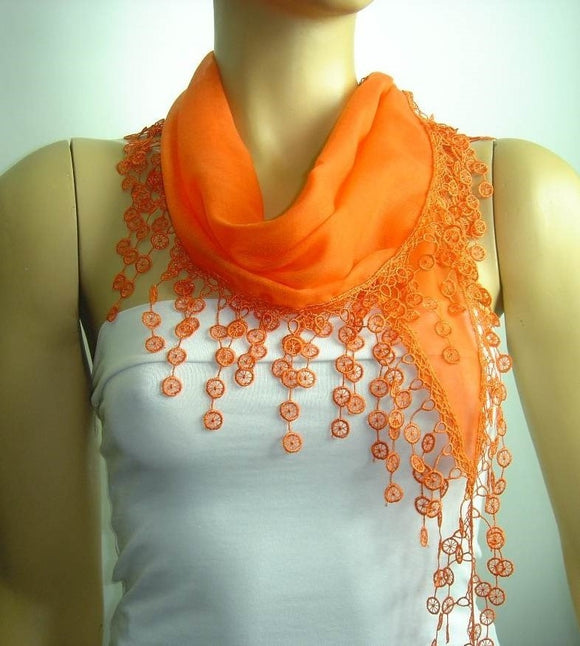 Pumpkin Orange fringed edge scarf - Scarf with Lace Fringe