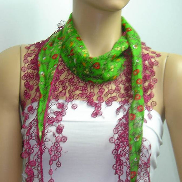Green with Red flowers printed and Sour Cherry fringed edge scarf - Scarf with Lace Fringe