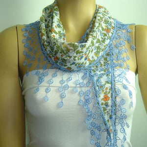 White with Blue and Orange flowers printed and BLUE fringed edge scarf - Scarf with Lace Fringe
