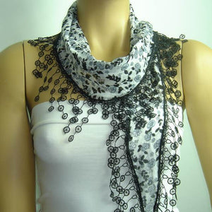 White with Black flowers printed and BLACK fringed edge scarf - Scarf with Lace Fr