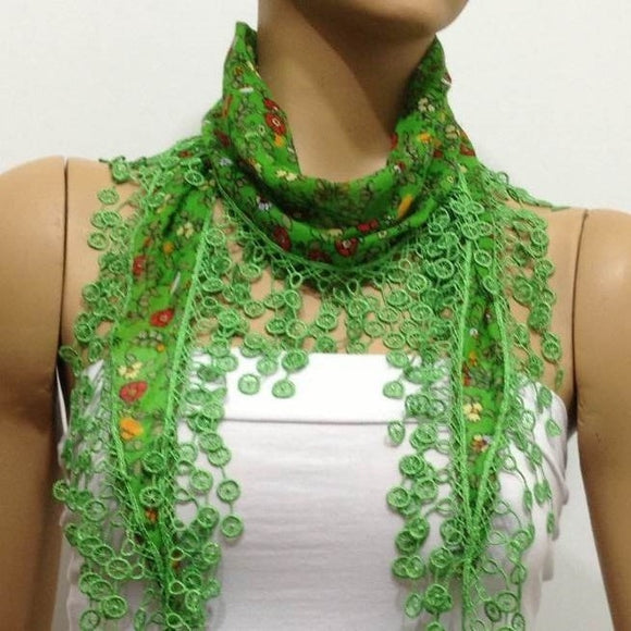 Green with Red flowers printed fringed edge scarf - Scarf with Lace Fringe
