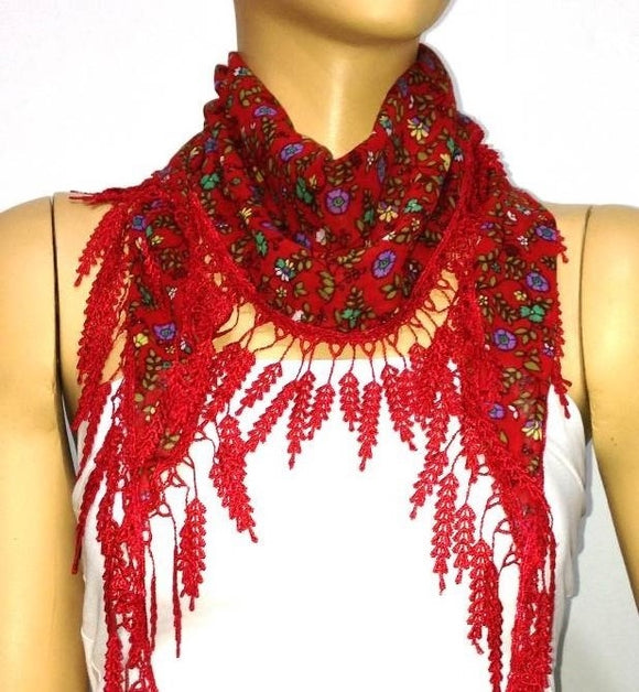 Red with Purple flowers printed fringed edge scarf - Scarf with Lace Fringe