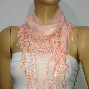 Salmon Pink fringed edge scarf - Scarf with Lace Fringe