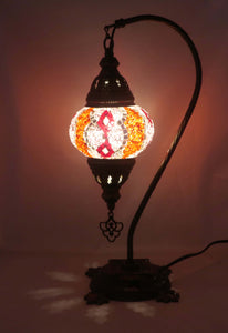 Handcrafted Mosaic Tiffany Curves/ Swan Table Lamp  075