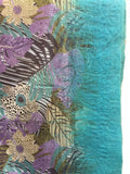 Turquoise Felt Edge Digital Medium Scarf