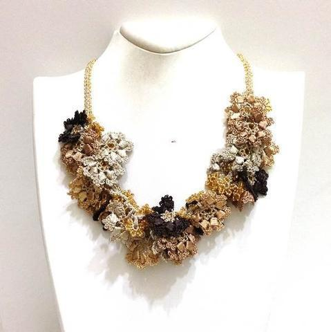 Golden Colors Bouquet Necklace - Crochet crochet Lace Necklace - Beaded Crochet Necklace - Mixed Flower - Hand crafted Necklace - Fiber Art