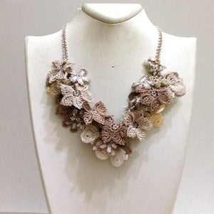 Beige and Brown Bouquet Necklace - Crochet OYA Lace Necklace