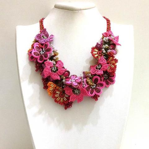 Pink,Orange,Burgundy Bouquet Necklace - Crochet OYA Lace Necklace