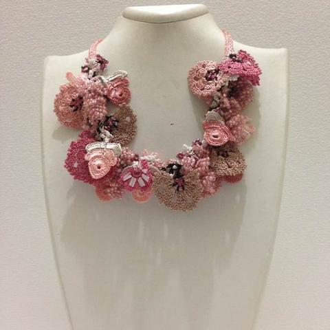 Pink Salmon Taupe Bouquet Necklace - Crochet crochet Lace Necklace