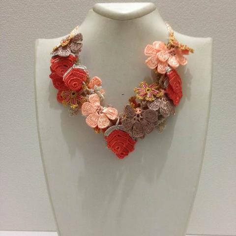 Orange Salmon Taupe Bouquet Necklace - Crochet OYA Lace Necklace
