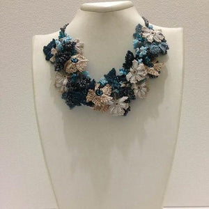 Teal Green and Taupe Bouquet Necklace - Crochet OYA Lace Necklace