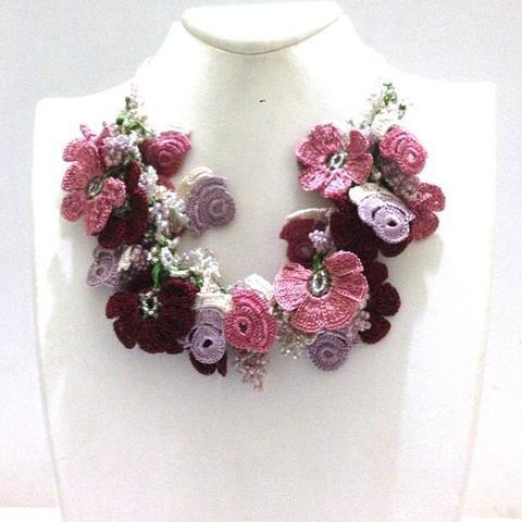 Pink Lilac Burgundy Bouquet Necklace - Crochet crochet Lace Necklace