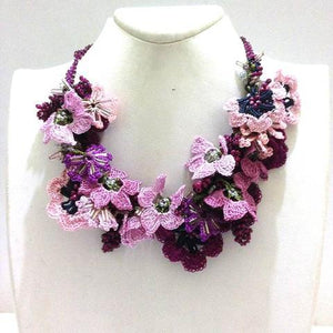 Pink Burgundy Purple Bouquet Necklace - Crochet OYA Lace Necklace