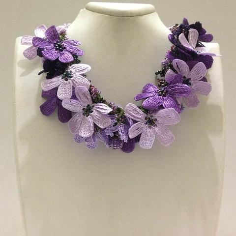 Lavender, Purple and Lilac Bouquet Necklace with purple Beads - Crochet OYA Lace Necklace