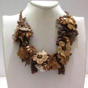Golden Yellow and ,Brown Bouquet Necklace with Copper Grapes - Crochet OYA Lace Necklace