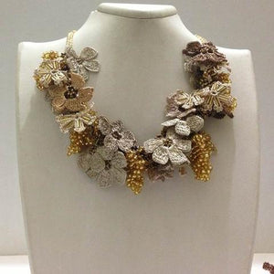 Golden Yellow,Beige and ,Brown Bouquet Necklace with Golden Grapes - Crochet OYA Lace Necklace