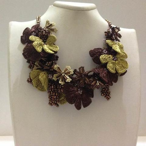 Green and Brown Bouquet Necklace with Copper Grapes - Crochet OYA Lace Necklace