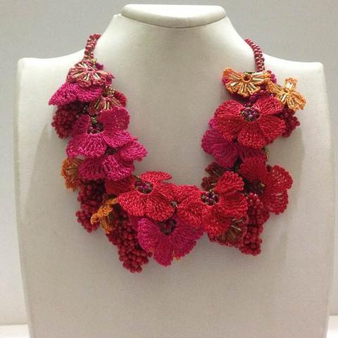 Pomagranate RED and HOT PINK with Hot Pink Grapes - Crochet crochet Lace Necklace