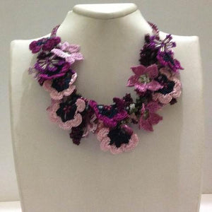 Blue and Purple- - Crochet OYA Lace Necklace