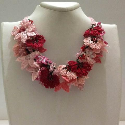 Salmon Pink and Red - Crochet OYA Lace Necklace