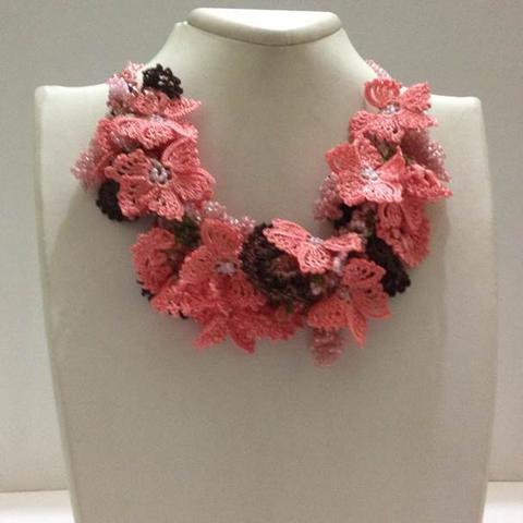 Salmon and Brown - Crochet OYA Lace Necklace