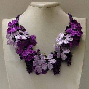 Lilac and Plum Purple Bouquet Necklace - Crochet OYA Lace Necklace