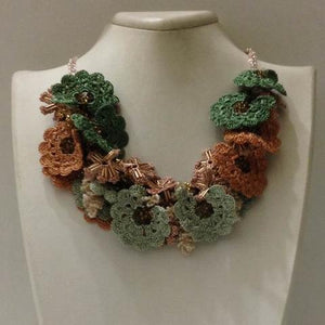 Green and Taupe Bouquet Necklace - Crochet OYA Lace Necklace