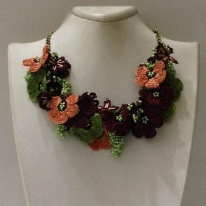 Orange Green Brown Bouquet Necklace - Crochet OYA Lace Necklace
