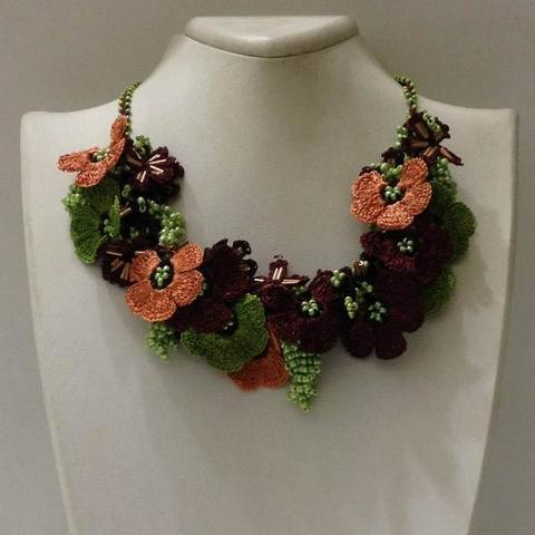 Orange Green Brown Bouquet Necklace - Crochet crochet Lace Necklace
