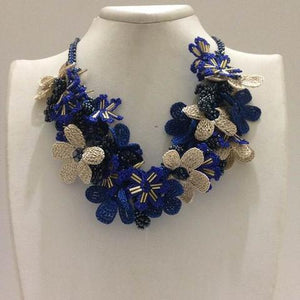 Cobalt Blue and Beige Bouquet Necklace - Parliament BLUE - Crochet OYA Lace Necklace