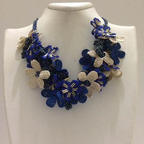 Cobalt Blue and Beige Bouquet Necklace - Parliament BLUE - Crochet crochet Lace Necklace