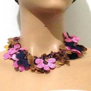 Pink,Navy and Taupe Bouquet Necklace - Crochet OYA Lace Necklace