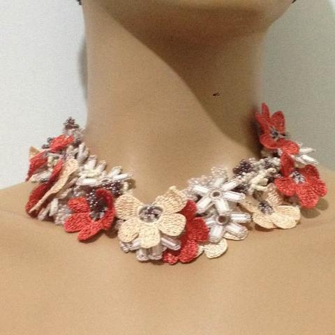 Beige and Orange Bouquet Necklace - Crochet crochet Lace Necklace