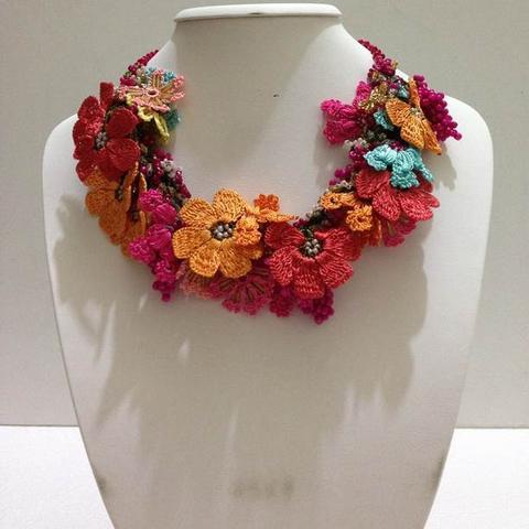 Orange, Turquoise and Pomagranate Pink Bouquet Necklace - Crochet OYA Lace Necklace