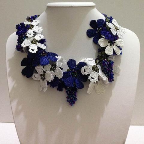 Navy and White Bouquet Necklace - Crochet OYA Lace Necklace