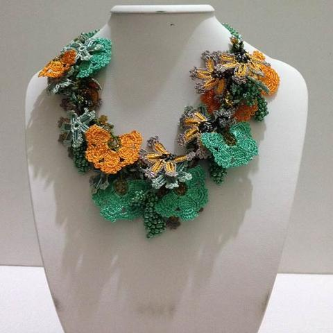 Orange and Green Bouquet Necklace - Crochet OYA Lace Necklace