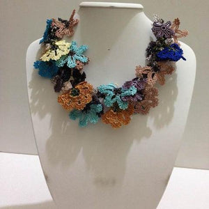 Earth Colors and Indigo Blue Bouquet Necklace - Crochet OYA Lace Necklace
