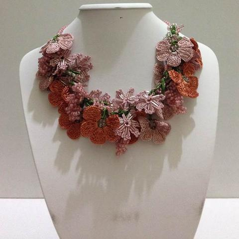 Old Rose Pink and Cinnamon Orange Bouquet Necklace - Crochet crochet Lace Necklace