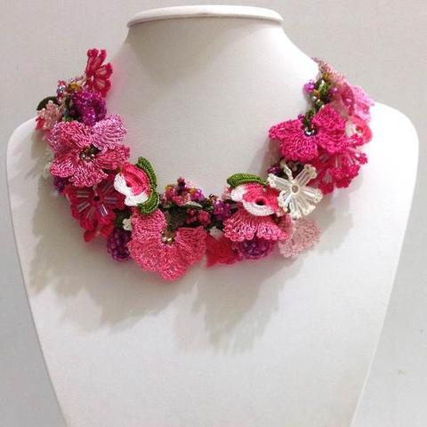 Hot PINK and Light Pink Bouquet Necklace - Crochet OYA Lace Necklace
