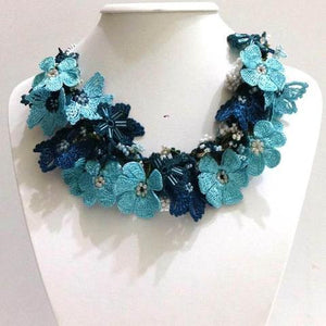 BLUE and TEAL Bouquet Necklace - Crochet OYA Lace Necklace