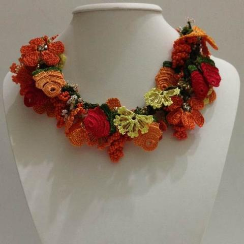 Orange, Red and Yellow - Crochet OYA Lace Necklace