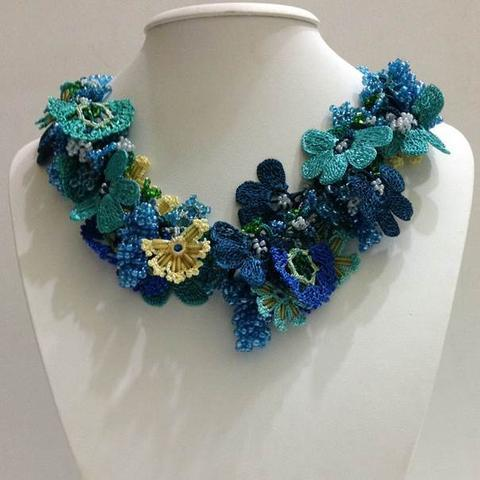 Green,Blue and Yellow - Crochet crochet Lace Necklace