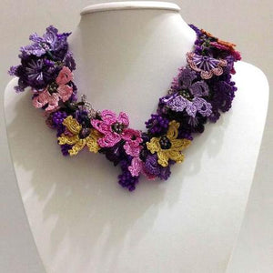 Pink,Yellow and Purple - Crochet OYA Lace Necklace