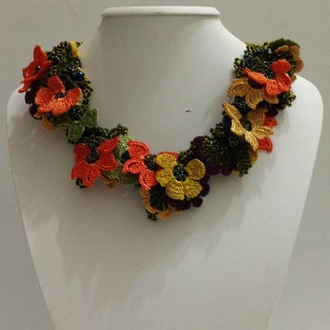 Orange,Green and Yellow Crochet OYA Lace Necklace