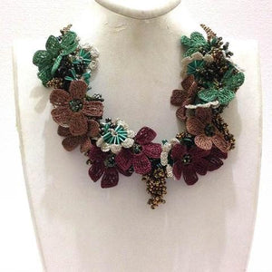 Olive Green,Burgundy and Brown Bouquet Necklace with Copper Grapes - Crochet OYA Lace Necklace