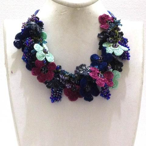 Aqua Green,Burgundy and Blue Bouquet Necklace with Blue Grapes - Crochet OYA Lace Necklace