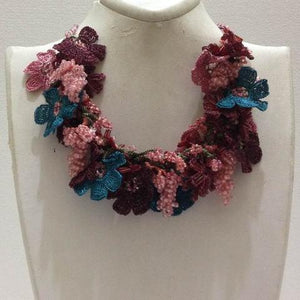 Pink,Brown and Blue Bouquet Necklace with Pink Grapes - Crochet crochet Lace Necklace