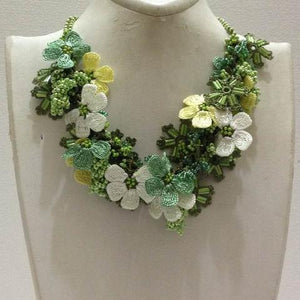 Green,Yellow and White Bouquet Necklace with Green Grapes - Crochet OYA Lace Necklace